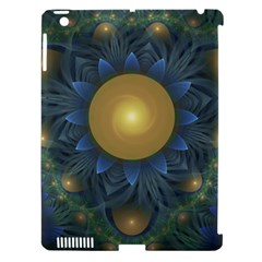 Beautiful Orange & Blue Fractal Sunflower Of Egypt Apple Ipad 3/4 Hardshell Case (compatible With Smart Cover) by jayaprime