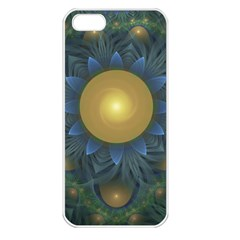 Beautiful Orange & Blue Fractal Sunflower Of Egypt Apple Iphone 5 Seamless Case (white) by jayaprime