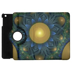 Beautiful Orange & Blue Fractal Sunflower Of Egypt Apple Ipad Mini Flip 360 Case by jayaprime