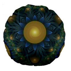 Beautiful Orange & Blue Fractal Sunflower Of Egypt Large 18  Premium Round Cushions by jayaprime