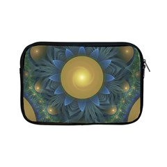 Beautiful Orange & Blue Fractal Sunflower Of Egypt Apple Ipad Mini Zipper Cases by jayaprime
