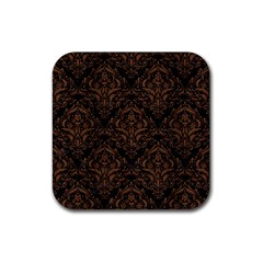 Damask1 Black Marble & Brown Wood Rubber Square Coaster (4 Pack) by trendistuff