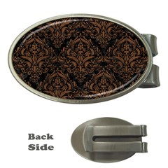 Damask1 Black Marble & Brown Wood Money Clip (oval) by trendistuff