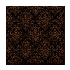 Damask1 Black Marble & Brown Wood Face Towel by trendistuff