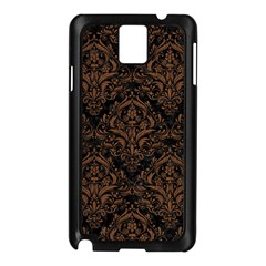 Damask1 Black Marble & Brown Wood Samsung Galaxy Note 3 N9005 Case (black) by trendistuff