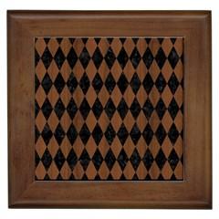 Diamond1 Black Marble & Brown Wood Framed Tile by trendistuff
