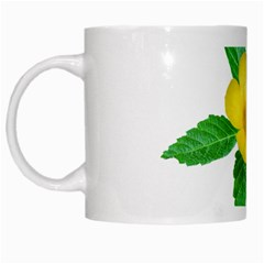 Yellow Flower With Leaves Photo White Mugs by dflcprints