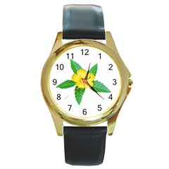 Yellow Flower With Leaves Photo Round Gold Metal Watch by dflcprints