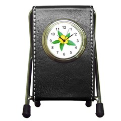 Yellow Flower With Leaves Photo Pen Holder Desk Clocks by dflcprints