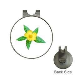 Yellow Flower With Leaves Photo Hat Clips With Golf Markers by dflcprints