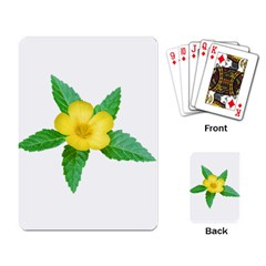 Yellow Flower With Leaves Photo Playing Card by dflcprints