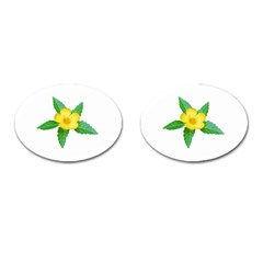 Yellow Flower With Leaves Photo Cufflinks (oval) by dflcprints