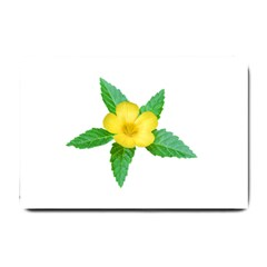Yellow Flower With Leaves Photo Small Doormat  by dflcprints