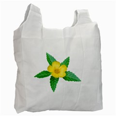 Yellow Flower With Leaves Photo Recycle Bag (one Side) by dflcprints