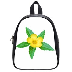Yellow Flower With Leaves Photo School Bags (small)  by dflcprints