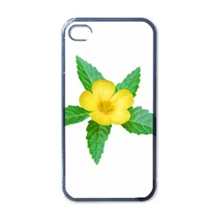 Yellow Flower With Leaves Photo Apple Iphone 4 Case (black) by dflcprints