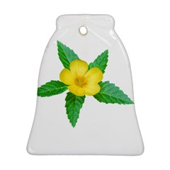 Yellow Flower With Leaves Photo Ornament (bell) by dflcprints