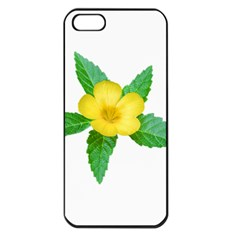 Yellow Flower With Leaves Photo Apple Iphone 5 Seamless Case (black) by dflcprints