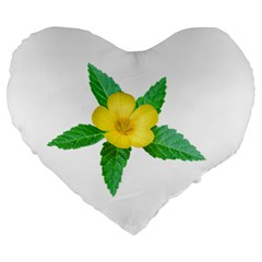 Yellow Flower With Leaves Photo Large 19  Premium Heart Shape Cushions by dflcprints