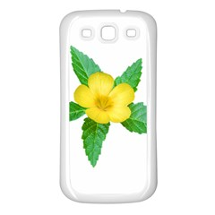 Yellow Flower With Leaves Photo Samsung Galaxy S3 Back Case (white) by dflcprints