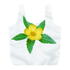 Yellow Flower With Leaves Photo Full Print Recycle Bags (l)  by dflcprints
