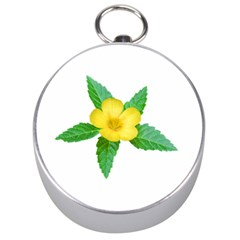 Yellow Flower With Leaves Photo Silver Compasses by dflcprints