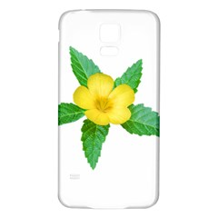Yellow Flower With Leaves Photo Samsung Galaxy S5 Back Case (white) by dflcprints
