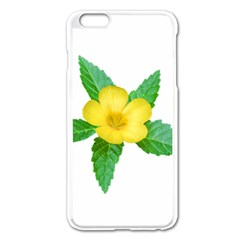 Yellow Flower With Leaves Photo Apple Iphone 6 Plus/6s Plus Enamel White Case by dflcprints