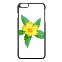 Yellow Flower With Leaves Photo Apple Iphone 6 Plus/6s Plus Black Enamel Case by dflcprints
