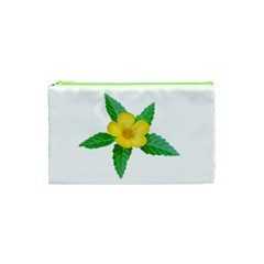 Yellow Flower With Leaves Photo Cosmetic Bag (xs) by dflcprints