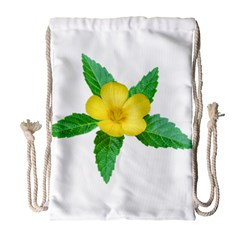 Yellow Flower With Leaves Photo Drawstring Bag (large) by dflcprints