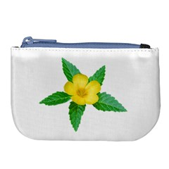 Yellow Flower With Leaves Photo Large Coin Purse by dflcprints