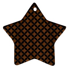 Circles3 Black Marble & Brown Wood (r) Star Ornament (two Sides) by trendistuff