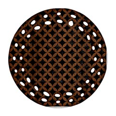 Circles3 Black Marble & Brown Wood Round Filigree Ornament (two Sides) by trendistuff