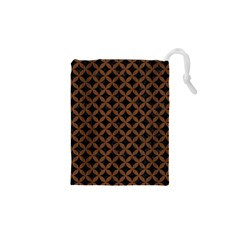 Circles3 Black Marble & Brown Wood Drawstring Pouch (xs) by trendistuff