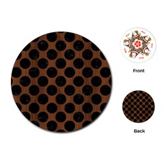 Circles2 Black Marble & Brown Wood (r) Playing Cards (round) by trendistuff