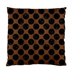 Circles2 Black Marble & Brown Wood (r) Standard Cushion Case (two Sides) by trendistuff