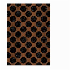 Circles2 Black Marble & Brown Wood (r) Large Garden Flag (two Sides) by trendistuff