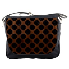 Circles2 Black Marble & Brown Wood (r) Messenger Bag by trendistuff