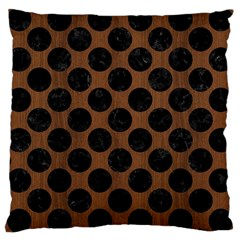 Circles2 Black Marble & Brown Wood (r) Large Cushion Case (one Side) by trendistuff