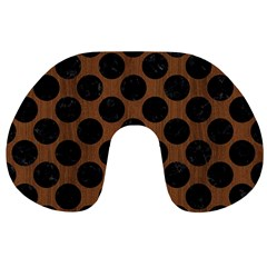 Circles2 Black Marble & Brown Wood (r) Travel Neck Pillow by trendistuff