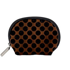 Circles2 Black Marble & Brown Wood (r) Accessory Pouch (small) by trendistuff