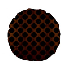 Circles2 Black Marble & Brown Wood (r) Standard 15  Premium Flano Round Cushion  by trendistuff
