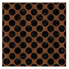 Circles2 Black Marble & Brown Wood (r) Large Satin Scarf (square) by trendistuff