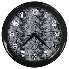 Black Floral Lace Pattern Wall Clocks (black) by paulaoliveiradesign