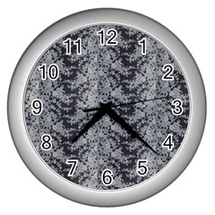 Black Floral Lace Pattern Wall Clocks (silver)  by paulaoliveiradesign