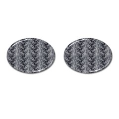 Black Floral Lace Pattern Cufflinks (oval) by paulaoliveiradesign