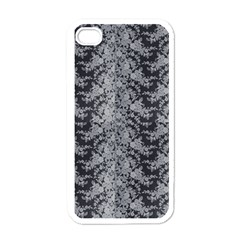 Black Floral Lace Pattern Apple Iphone 4 Case (white) by paulaoliveiradesign