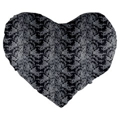 Black Floral Lace Pattern Large 19  Premium Flano Heart Shape Cushions by paulaoliveiradesign