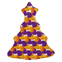 Purple And Yellow Abstract Pattern Ornament (christmas Tree)  by paulaoliveiradesign